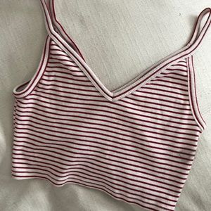 WORN ONCE! Red and white striped crop top